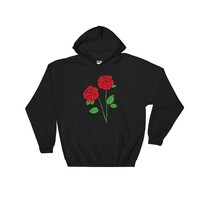 Rose Hooded Sweatshirt Black