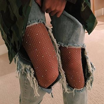 Sexy Rhinestone Mesh Fishnet Pantyhose Spring Summer Black women tights Slim Fishnet Tights Stockings Party Club Hosiery 2017