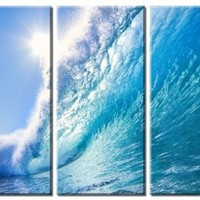 Picture Sensations Framed Huge 3-Panel Modern Nature Art Ocean Wave Giclee Canvas Art