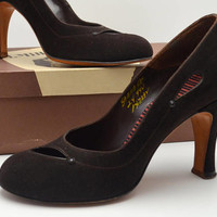 Vintage I Miller Suede Pumps, Chocolate Brown Heels with Cutouts, Includes Box, Size 8 AAAA, circa 1940s
