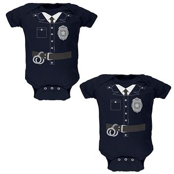 Halloween Twins Good Cop Bad Cop Costumes Soft Twins Baby One Piece
