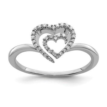 Sterling Silver Genuine Diamond Heart Ring
