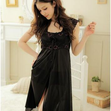 Sexy Lingerie Women's ice silk condole belt black suit t pants new pearl dress set sleepwear