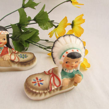 Vintage ESD Indian Moccasin Salt and Pepper Shakers
