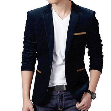 Male Blazer Slim Fit Suit Jacket Velvet Single Button Outwear