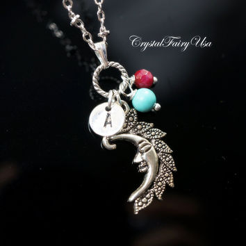 Initial Necklace - Moon Necklace - Moon Charm Birthstone Personalized Necklace - Celestial Necklace Gift for Her Crescent Children Necklace