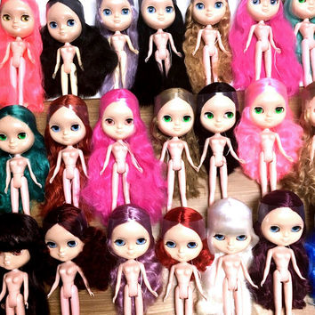 RANDOMLY SELECTED DIY Doll Making Value 1/6 Scale Custom Nude Factory Blythe Style Dolls - No Clothing - Free Shipping
