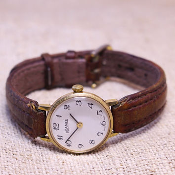 Vintage Roamer womens watch gold plated swiss ladies watch
