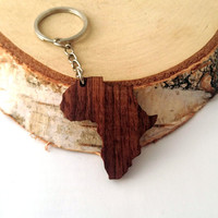 Africa shape Wooden Keychain, Walnut Wood, Custom Engravable Keychain, Environmental Friendly Green materials