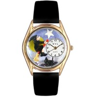 SheilaShrubs.com: Women's Halloween Flying Witch Black Leather Watch C-1220009 by Whimsical Watches: Watches