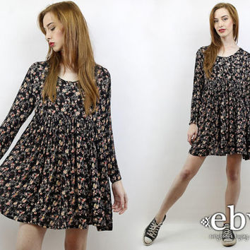 Vintage 90s Grunge Black Fl Babydoll Dress S M L Mini Everybodysingvintage