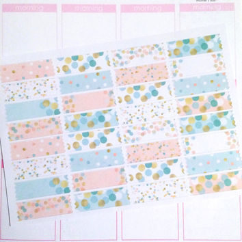 Washi Planner Sticker Set- Blush Pink and Mint Polka Dots 32 count