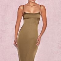 Clothing : Bodycon Dresses : 'Mischa' Khaki Fitted Satin Slip Dress