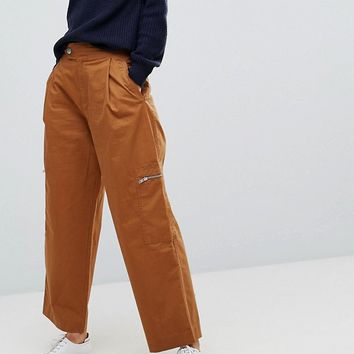 ASOS TALL DAPHNE Casual Cropped Pants with Zip Detail in Tan at asos.com