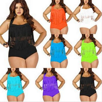 2016 PLUS SIZE Big and Beautiful Womens Retro Fringe Tassel Top High Waisted Bikini Push Up Bandeau Rockabilly Swimwear Swimsuit