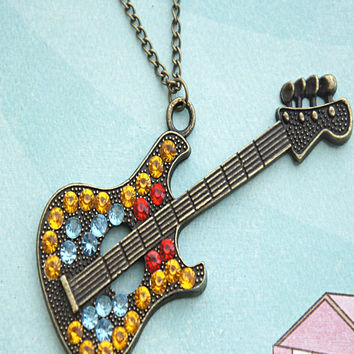 Retro Guitar Necklace