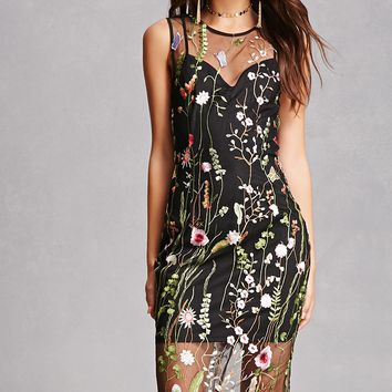 Embroidered Sheer Mesh Dress