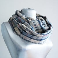 Handmade Tartan Infinity Scarf - Cotton Flannel - Beige Gray Red - Winter Autumn Scarf