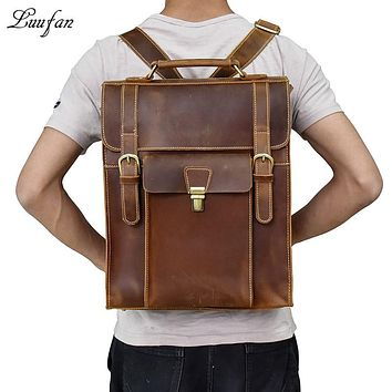 Thick Genuine cow leather men backpack Crazy Horse Leather laptop business shoulder bag multifunction Travel rucksack