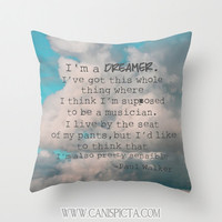 Paul Walker Quotes 16x16 Decorative Throw Pillow Cover Commemorative Inspired By In Memory Forest Clouds Sky Dreamer Teal Blue Orange Nature