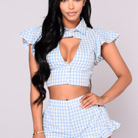 Clementine Top - Sky Blue