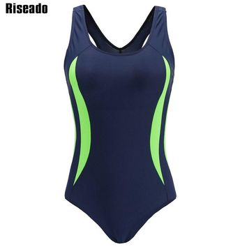 Riseado 2018 One Piece Swimsuit Sport Swimming Suits for Women Competition Training Swimwear Patchwork Padded Bathing Suits
