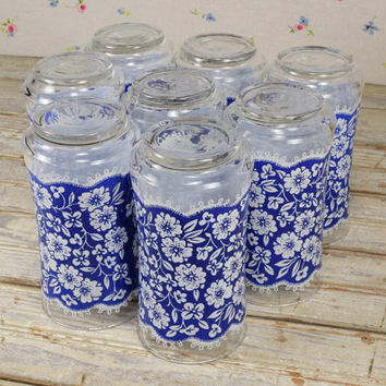 Vintage Libbey Tumblers Blue/White Floral Drinking Glasses 12 oz Juice Glass Highball Mid century Dianthus Flowers Set of 8 INV#A211