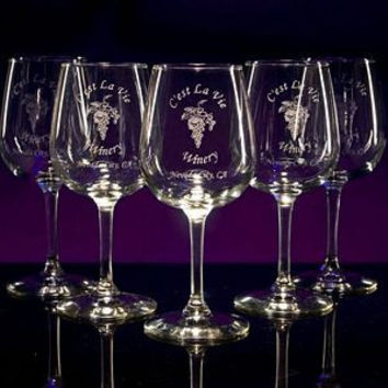 6 Personalized Etched Wine Glasses - Martini