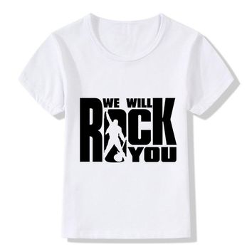 2018 We Will Rock You Queen Children T-Shirts Summer Tops Girls/Boys Tshirt Short Sleeve Clothes Hipster Casual Baby Kids Tees