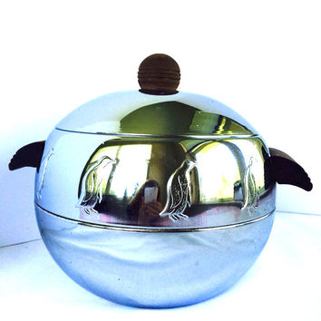 Vintage West Bend Penguin Hot  and Cold Server Ice Bucket Bun Warmer 1960s Retro Kitchen Madmen Chrome