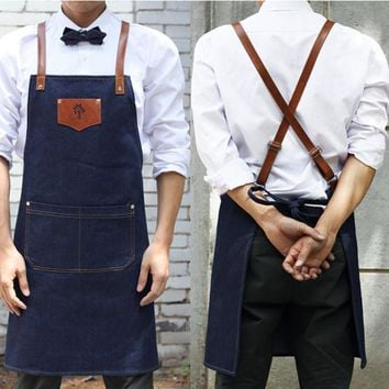 Denim cowboy Apron Bib Leather Straps Kitchen Apron for Women M House cooking Restaurant Waitress Apron Custom Print Logo BBQ