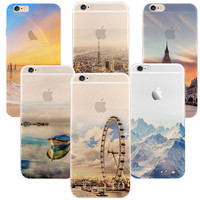 Newest fashion For iPhone 5s 7 6 6S case Ultra Thin Soft Silicon Mountain Landscape For iphone 7 6plus Case Phone Cover cases