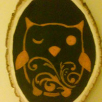 Owl on a Real Wood Ring