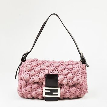 "Fendi Pink Crochet Knit & Brown Leather ""Baguette"" Shoulder Bag"