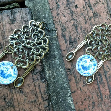 Antique Bronze Chandelier Earring with Ceramic Plates and Spoons