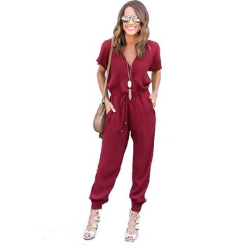 V Neck Pleated Waist Pocket Rompers Womens Jumpsuit