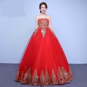 Embroidery Gold Wedding Dress Arrived High Waist Strapless Lace Gown