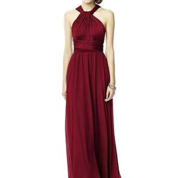 Dessy Marcaine Jersey Long Twist Wrap with Chiffon Overskirt Bridesmaids Dress