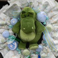 Baby Boy Alligator Diaper Wreath Baby Shower Gift by JeannaSadorra