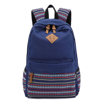 Navy Canvas Ethnic School Backpack Bookbag for Daughter Teen Girls