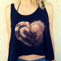 Crop Top Tank, Heart Print, Boho Hippie