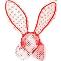 Polka Dot Lace Bunny Ears Headband with Veil - Red