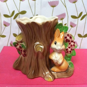 Vintage china, bunny rabbit figurine vase! Cute, Hornsea Fauna, porcelain, rabbit planter/ canister! WoOdLaNd CuTiE!