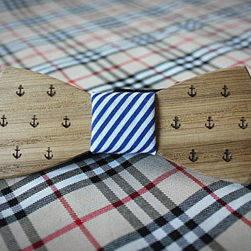 Nautical style Wooden bow tie. Oak wood with engraved anchor.