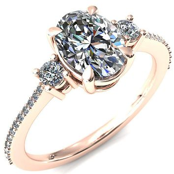 Bonnie Oval Moissanite 4 Claw Prong 2 Rail Basket Round Sidestones Inverted Cathedral Diamond Accent Engagement Ring