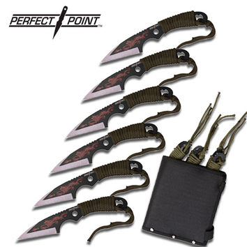 6 Pcs Dragon Cord Wrapped Handle Throwing Knife Set