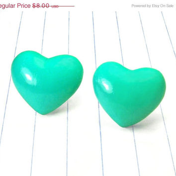 ON SALE turquoise heart earrings - turquoise heart studs - turquoise heart jewelry - turquoise earrings - turquoise studs - turquoise - wed