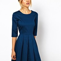 ASOS Skater Dress With Pleated Skirt at asos.com