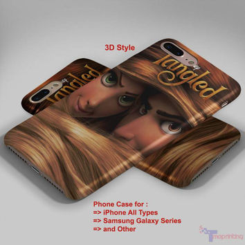 Tangled Rapunzel Long Hair - Personalized iPhone 7 Case, iPhone 6/6S Plus, 5 5S SE, 7S Plus, Samsung Galaxy S5 S6 S7 S8 Case, and Other