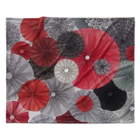 "Heidi Jennings ""Kyoto"" Red Black Fleece Throw Blanket"
